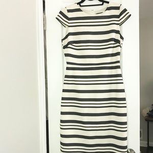J. Crew Dresses - J.Crew Striped Gray and White Cap Sleeve Dress